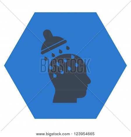 Brain Washing vector icon. Image style is bicolor flat brain washing icon symbol drawn on a hexagon with smooth blue colors.