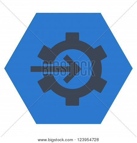 Cog Integration vector symbol. Image style is bicolor flat cog integration iconic symbol drawn on a hexagon with smooth blue colors.