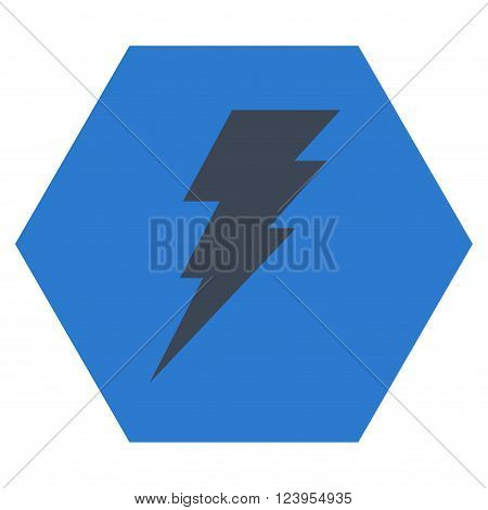 Execute vector symbol. Image style is bicolor flat execute iconic symbol drawn on a hexagon with smooth blue colors.