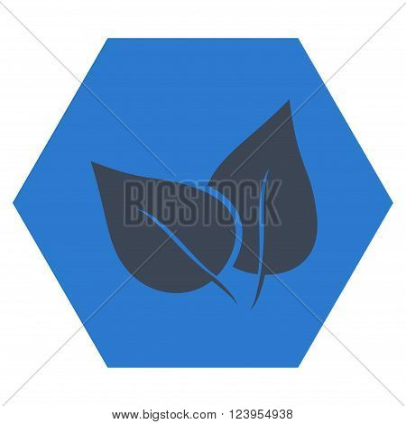 Flora Plant vector symbol. Image style is bicolor flat flora plant pictogram symbol drawn on a hexagon with smooth blue colors.