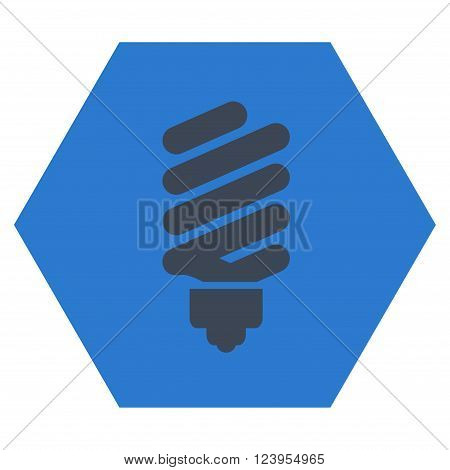 Fluorescent Bulb vector icon symbol. Image style is bicolor flat fluorescent bulb icon symbol drawn on a hexagon with smooth blue colors.