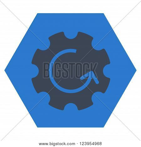 Gear Rotation vector symbol. Image style is bicolor flat gear rotation icon symbol drawn on a hexagon with smooth blue colors.