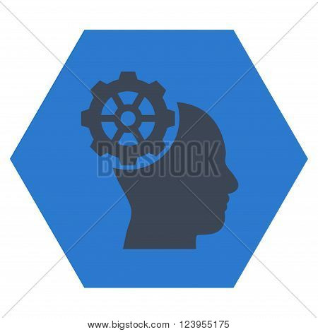 Head Gear vector pictogram. Image style is bicolor flat head gear icon symbol drawn on a hexagon with smooth blue colors.