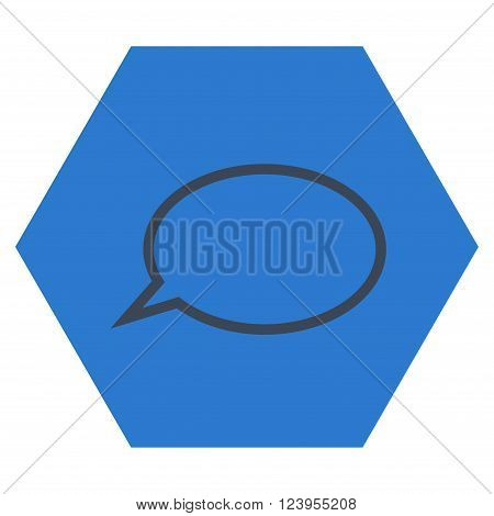 Hint Cloud vector pictogram. Image style is bicolor flat hint cloud pictogram symbol drawn on a hexagon with smooth blue colors.