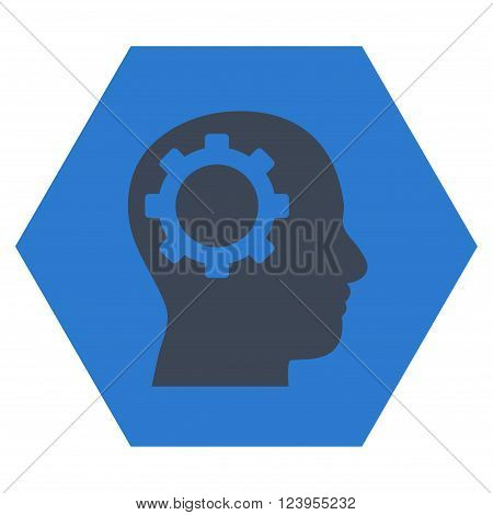 Intellect Gear vector icon. Image style is bicolor flat intellect gear iconic symbol drawn on a hexagon with smooth blue colors.
