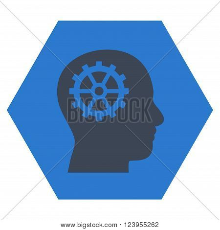 Intellect vector icon. Image style is bicolor flat intellect iconic symbol drawn on a hexagon with smooth blue colors.