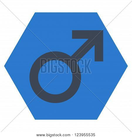 Male Symbol vector symbol. Image style is bicolor flat male symbol iconic symbol drawn on a hexagon with smooth blue colors.