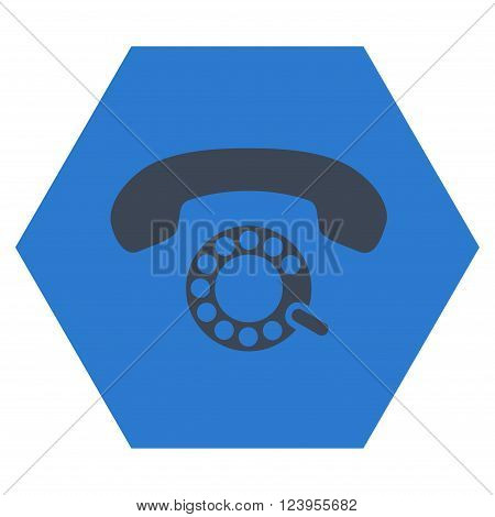 Pulse Dialing vector icon symbol. Image style is bicolor flat pulse dialing icon symbol drawn on a hexagon with smooth blue colors.