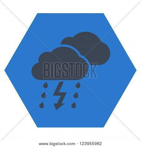 Thunderstorm vector symbol. Image style is bicolor flat thunderstorm iconic symbol drawn on a hexagon with smooth blue colors.