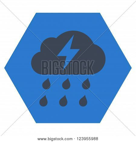Thunderstorm vector pictogram. Image style is bicolor flat thunderstorm iconic symbol drawn on a hexagon with smooth blue colors.