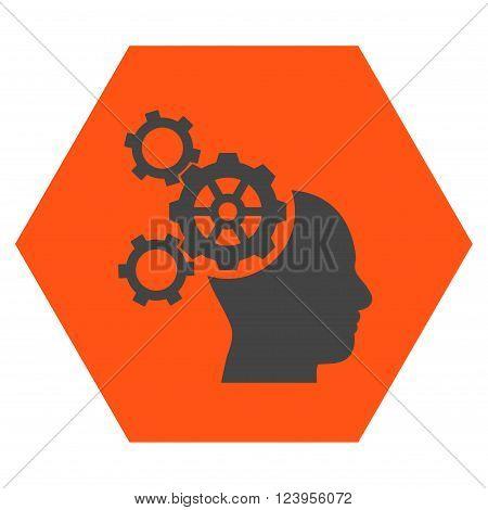 Brain Mechanics vector icon. Image style is bicolor flat brain mechanics iconic symbol drawn on a hexagon with orange and gray colors.