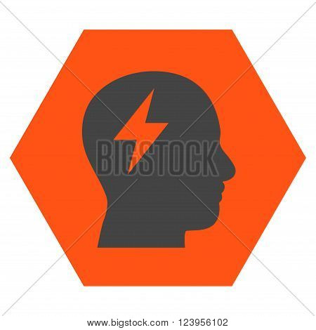 Brainstorming vector icon symbol. Image style is bicolor flat brainstorming iconic symbol drawn on a hexagon with orange and gray colors.