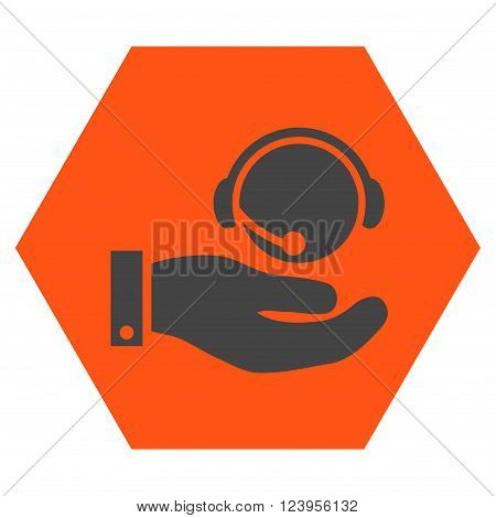 Call Center Service vector pictogram. Image style is bicolor flat call center service iconic symbol drawn on a hexagon with orange and gray colors.