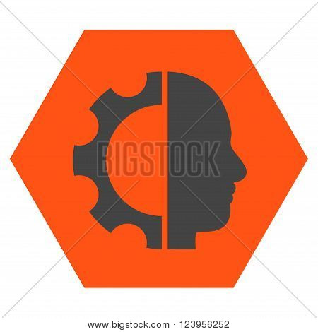 Cyborg Gear vector pictogram. Image style is bicolor flat cyborg gear pictogram symbol drawn on a hexagon with orange and gray colors.