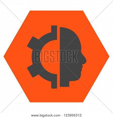 Cyborg Gear vector symbol. Image style is bicolor flat cyborg gear icon symbol drawn on a hexagon with orange and gray colors.