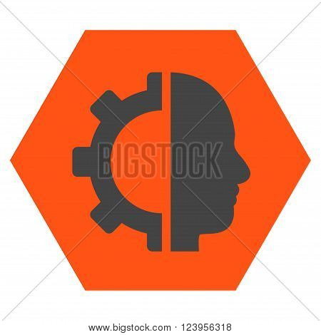 Cyborg Gear vector symbol. Image style is bicolor flat cyborg gear pictogram symbol drawn on a hexagon with orange and gray colors.