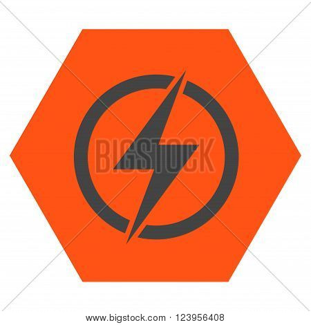 Electricity vector icon symbol. Image style is bicolor flat electricity iconic symbol drawn on a hexagon with orange and gray colors.