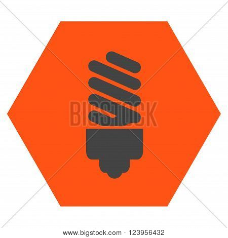 Fluorescent Bulb vector icon. Image style is bicolor flat fluorescent bulb pictogram symbol drawn on a hexagon with orange and gray colors.