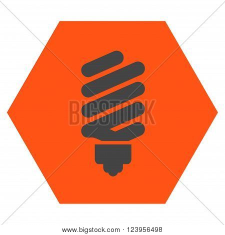 Fluorescent Bulb vector symbol. Image style is bicolor flat fluorescent bulb icon symbol drawn on a hexagon with orange and gray colors.