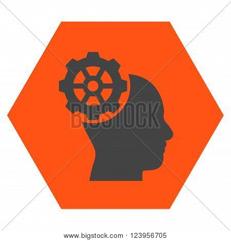 Head Gear vector pictogram. Image style is bicolor flat head gear pictogram symbol drawn on a hexagon with orange and gray colors.