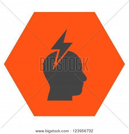 Headache vector icon. Image style is bicolor flat headache pictogram symbol drawn on a hexagon with orange and gray colors.