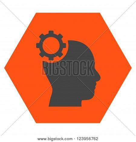 Intellect Gear vector symbol. Image style is bicolor flat intellect gear pictogram symbol drawn on a hexagon with orange and gray colors.