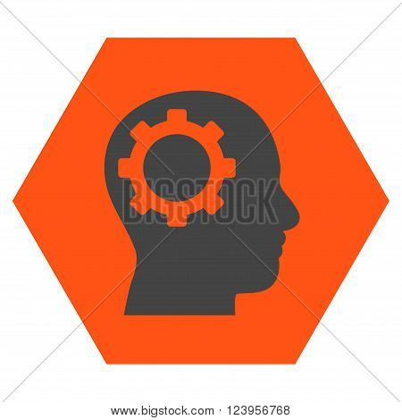 Intellect Gear vector symbol. Image style is bicolor flat intellect gear icon symbol drawn on a hexagon with orange and gray colors.