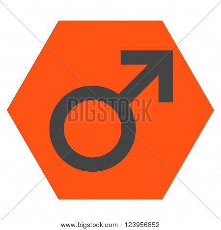 Male Symbol vector icon. Image style is bicolor flat male symbol pictogram symbol drawn on a hexagon with orange and gray colors.