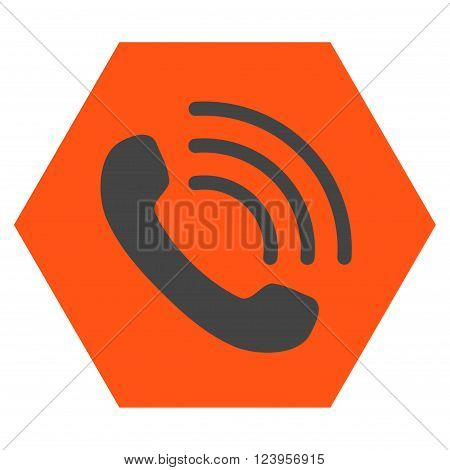 Phone Call vector pictogram. Image style is bicolor flat phone call pictogram symbol drawn on a hexagon with orange and gray colors.
