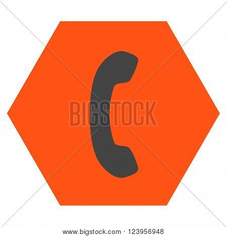 Phone Receiver vector icon symbol. Image style is bicolor flat phone receiver pictogram symbol drawn on a hexagon with orange and gray colors.