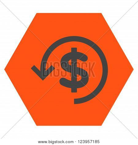 Refund vector icon symbol. Image style is bicolor flat refund pictogram symbol drawn on a hexagon with orange and gray colors.
