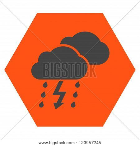 Thunderstorm vector icon. Image style is bicolor flat thunderstorm iconic symbol drawn on a hexagon with orange and gray colors.