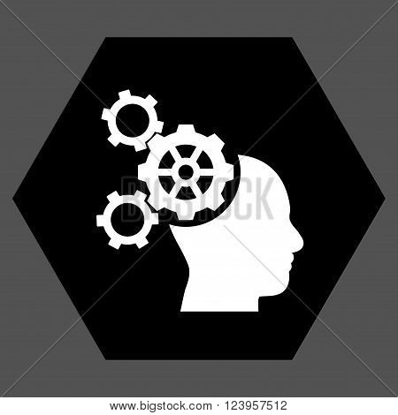 Brain Mechanics vector pictogram. Image style is bicolor flat brain mechanics icon symbol drawn on a hexagon with black and white colors.