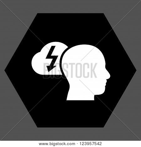 Brainstorming vector pictogram. Image style is bicolor flat brainstorming iconic symbol drawn on a hexagon with black and white colors.