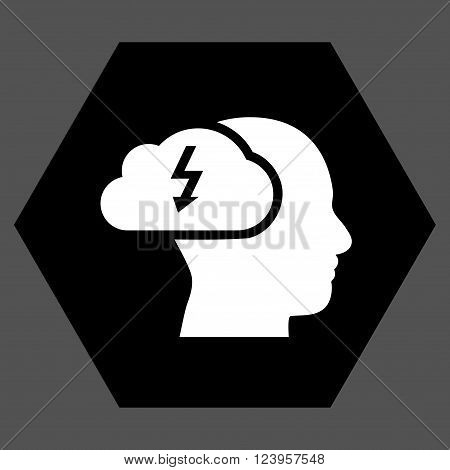 Brainstorming vector pictogram. Image style is bicolor flat brainstorming icon symbol drawn on a hexagon with black and white colors.
