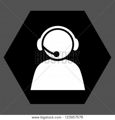 Call Center Operator vector symbol. Image style is bicolor flat call center operator iconic symbol drawn on a hexagon with black and white colors.