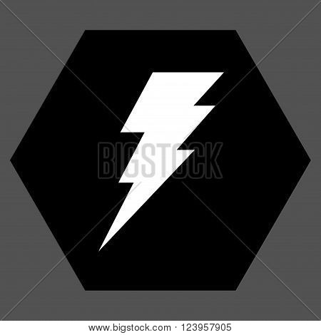 Execute vector symbol. Image style is bicolor flat execute icon symbol drawn on a hexagon with black and white colors.