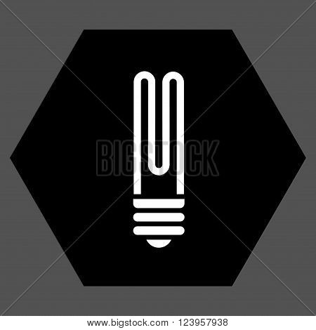 Fluorescent Bulb vector icon. Image style is bicolor flat fluorescent bulb icon symbol drawn on a hexagon with black and white colors.