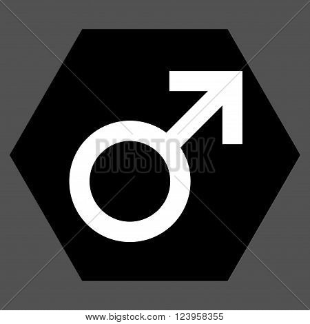 Male Symbol vector icon. Image style is bicolor flat male symbol icon symbol drawn on a hexagon with black and white colors.