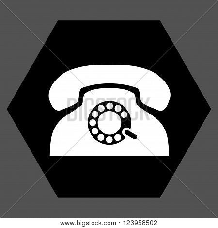 Pulse Phone vector pictogram. Image style is bicolor flat pulse phone icon symbol drawn on a hexagon with black and white colors.