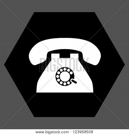 Pulse Phone vector icon. Image style is bicolor flat pulse phone icon symbol drawn on a hexagon with black and white colors.