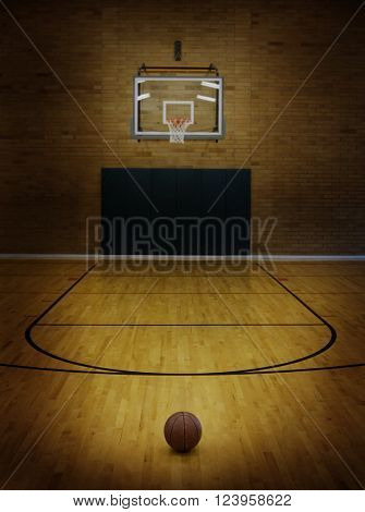 Basketball on floor of empty basketball court stock photo for How wide is a basketball court