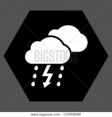 Thunderstorm vector pictogram. Image style is bicolor flat thunderstorm pictogram symbol drawn on a hexagon with black and white colors.