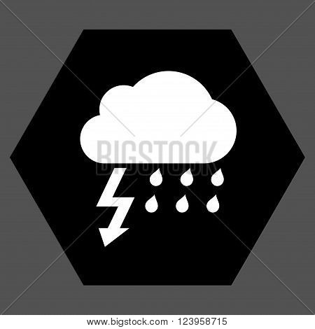 Thunderstorm vector pictogram. Image style is bicolor flat thunderstorm icon symbol drawn on a hexagon with black and white colors.