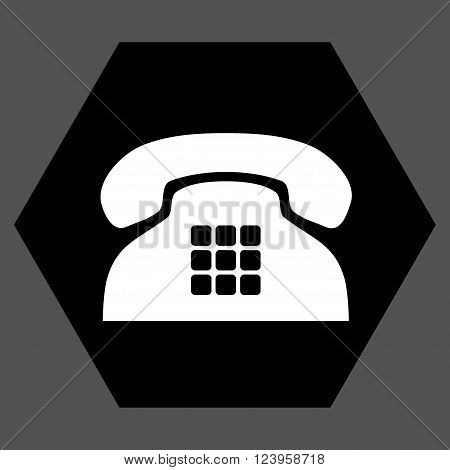 Tone Phone vector icon. Image style is bicolor flat tone phone iconic symbol drawn on a hexagon with black and white colors.