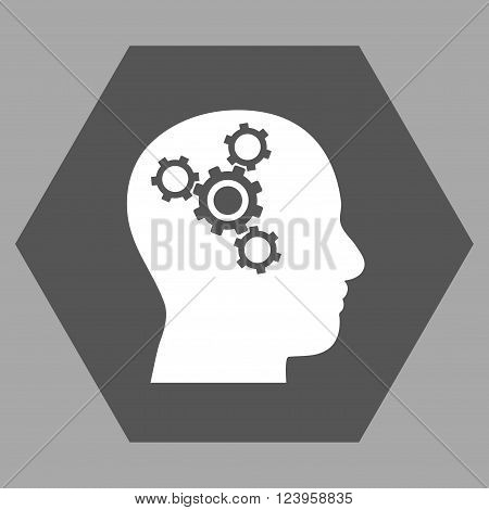 Brain Mechanics vector icon. Image style is bicolor flat brain mechanics iconic symbol drawn on a hexagon with dark gray and white colors.