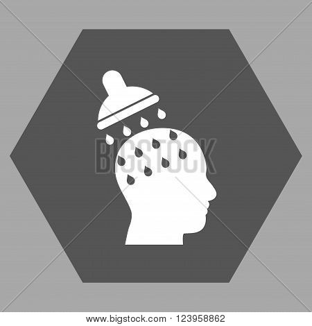 Brain Washing vector pictogram. Image style is bicolor flat brain washing icon symbol drawn on a hexagon with dark gray and white colors.