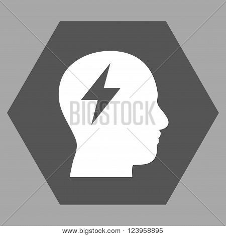 Brainstorming vector icon symbol. Image style is bicolor flat brainstorming iconic symbol drawn on a hexagon with dark gray and white colors.