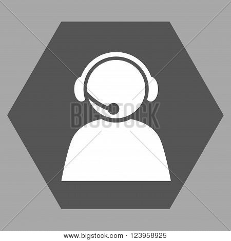 Call Center Operator vector pictogram. Image style is bicolor flat call center operator pictogram symbol drawn on a hexagon with dark gray and white colors.