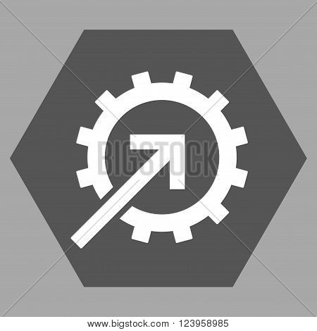 Cog Integration vector icon symbol. Image style is bicolor flat cog integration icon symbol drawn on a hexagon with dark gray and white colors.